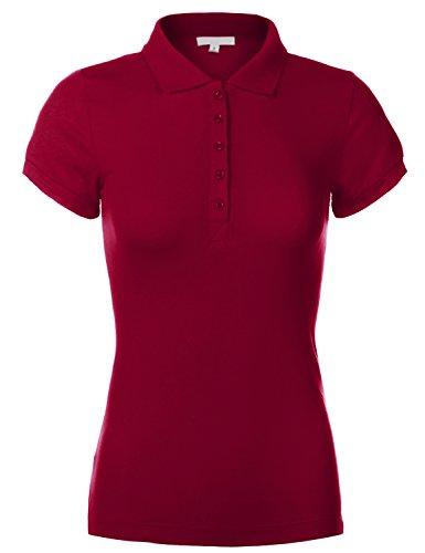 Woman Cotton Slim Fit Short Sleeve Plain Polo Shirts, US S, 091-Deep - Red Polo Macys