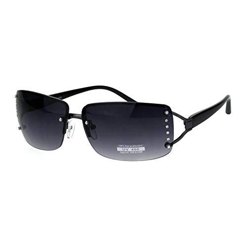 (Womens Rhinestone Rimless Narrow Rectangle Luxury Designer Sunglasses Gunmetal Smoke)