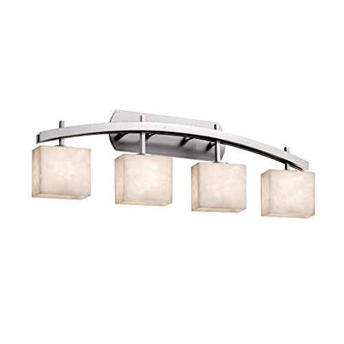 Justice Design Group Lighting CLD-8594-55-NCKL Justice Design Group - Clouds - Archway 4-Light Bath bar - Rectangle - Brushed Nickel Finish with Clouds Shade, (Nickel Bath Light Cloud Four)