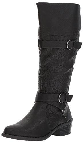 Easy Street Women's Kelsa Plus Harness Boot, Black/Embossed, 10 M US