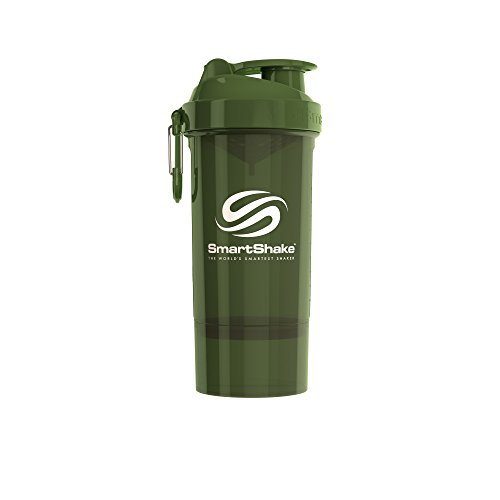 SmartShake Original2Go One Bottle, 27 oz Shaker Cup, Ultra Transparent Army Green