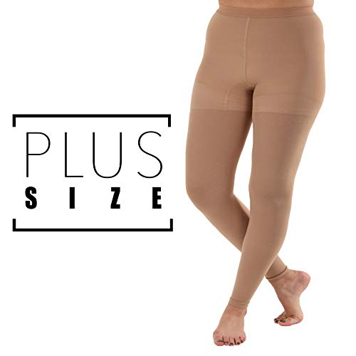 - Graduated Compression Leggings with Control Top - Firm Support 20-30mmHg (5XL, Beige)