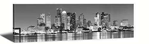 "Black & White Panoramic Boston Skyline Modern Art Work Cityscape Pictures Paintings on Canvas Wall Art Wall Pictures for Bedroom Art Home Decorations Office Decor Ready to Hang 14""x48"""