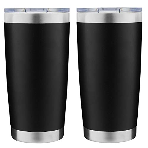 DOMICARE 20oz Stainless Steel Tumbler with Lid, Double Wall Vacuum Insulated Travel Mug, Durable Powder Coated Insulated Coffee Cup, 2 Pack, Black