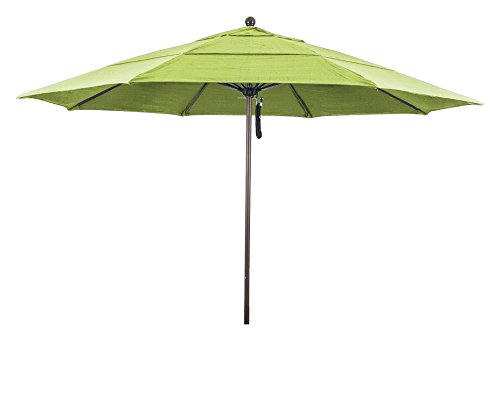 - California Umbrella 11' Round Aluminum/Fiberglass Umbrella, Push Open, Bronze Pole, Sunbrella Macaw