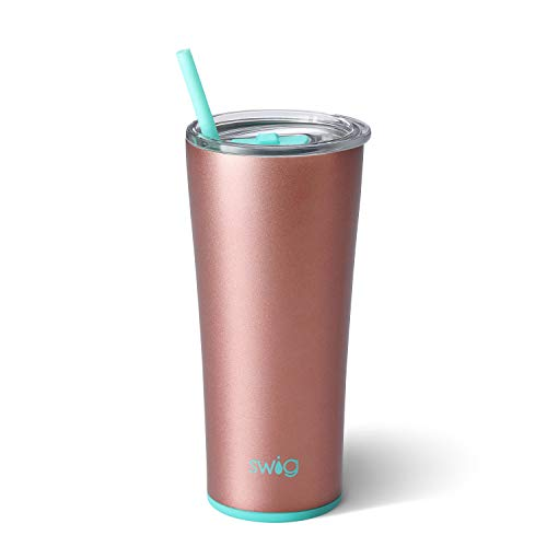 Swig Life Stainless Steel Signature 22oz Tumbler with Spill Resistant Slider Lid and Reusable Straw in Rose - Lid Rose