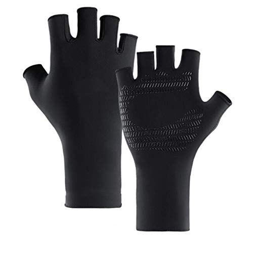 Sports Gloves, Anti-UV Quick-Drying Long Ice Silk Sunscreen Gloves Silicone Non-Slip Design Outdoor Riding Fishing Half Finger Gloves (Color : Black, Size : 1916cm)