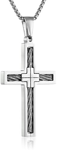 (Men's Stainless Steel Cable Cross Pendant Necklace, 24
