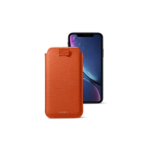 Latest Lucrin - Leather Case with Pull Tab Compatible with iPhone XR and Wireless Charging - Orange - Granulated Leather orange iphone xr case 11