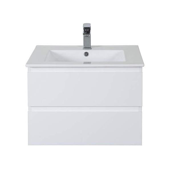 Meuble Salle de Bain 60 cm Suspendu Blanc Sorrento