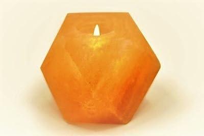 Natural Himalayan Crystal Rock Salt Candle Holder - Hexagon Shape