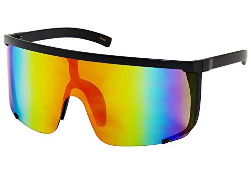 Elite Unisex Oversized Super Shield Mirrored Lens Sunglasses Retro Flat Top Matte Black Frame (Orange Rainbow)