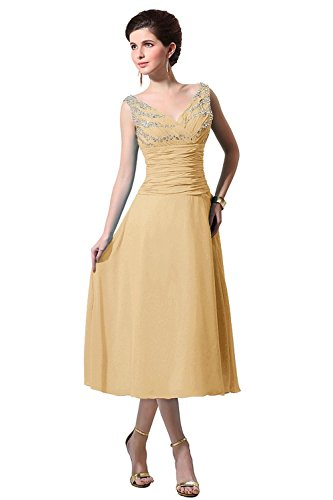 Buy gold tea length mother of the bride dress - 5