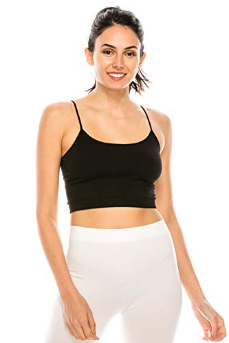ShyCloset Sports Crop Seamless Bra - Mini Top Bralette No Pad/Wire One Size Made in USA (NS2010, BLK)
