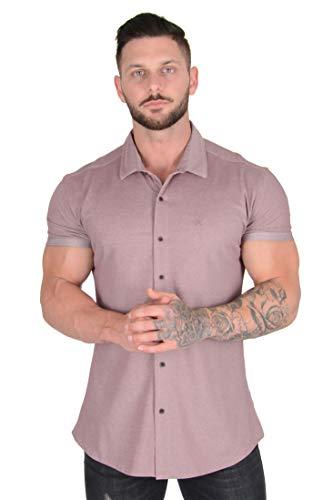 YoungLA Men Dress Shirt Athletic Slim Fit Short Sleeve Button Down 418 H BUR M Heather Burgundy