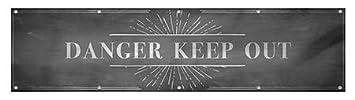 Danger Keep Out 16x4 CGSignLab Chalk Burst Heavy-Duty Outdoor Vinyl Banner