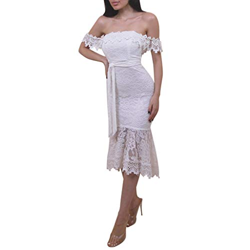 Women's Off Shoulder Lace Slim Dresses Cocktail Wedding Pencil Dress Bodycon Belted Bridal Wedding Gown(White, S)