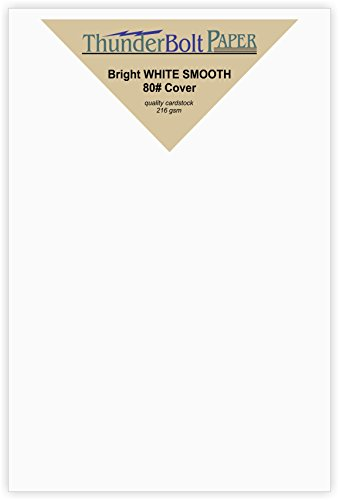 100 Bright White Smooth Card Sheets - 80# Cover Weight - 3'' X 5'' (3X5 Inches) Photo|Card|Frame Size - 80 lb/pound Quality Paper for Consistency in Print as a Result of the Smooth Finish by ThunderBolt Paper