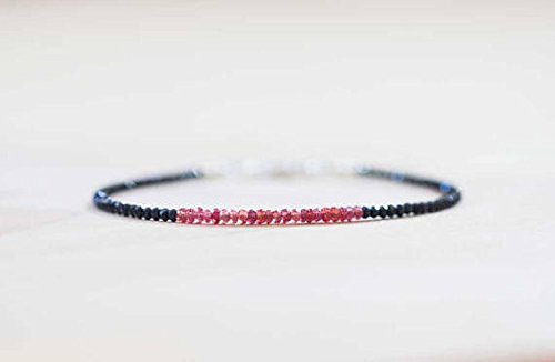 (JP_Beads Padparadscha Sapphire Bracelet with Black Spinel, Skinny Pink Orange Red Beaded Stacking Bracelet, Sterling Silver Rose Gold Filled 2-2.5mm 7 inches)