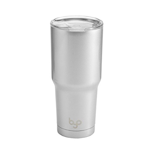 BYO 5212990 Double Wall Stainless Steel Vacuum Insulated Tumbler, 30-Ounce, Metallic Silver ()