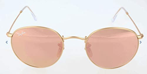 Ray-Ban RB3447 Round Metal Sunglasses, Matte Gold/Copper Flash, 50 mm