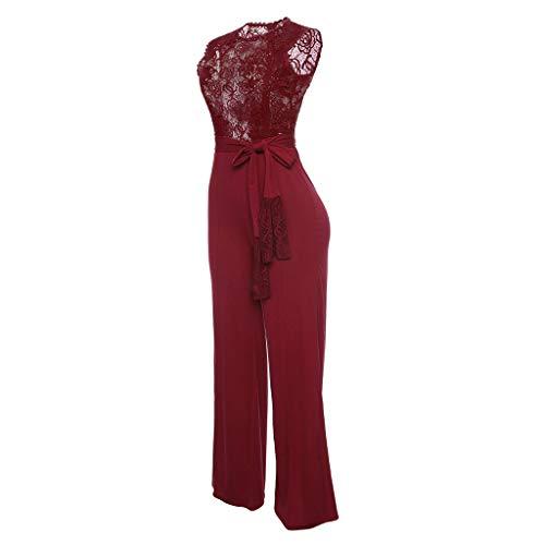 Pantalonsdames Red De Manches Bessky Dames Sans Dentelle Sexy Pantalons Soirée Combinaison vfI6Yby7g