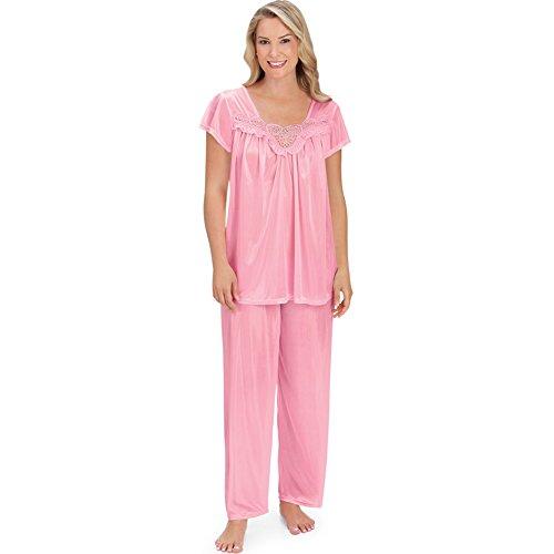 (Women's Embroidered Lace Bodice Pajama Set, Pink, Medium)