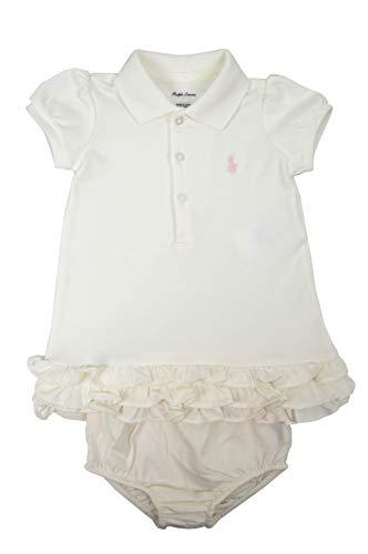 (Polo Ralph Lauren Baby Girls Cotton Two Piece Ruffled Hem Polo Shirt Dress Set White/Pink)