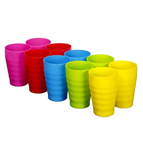 Plaskidy Reusable Plastic Cups - Set of 10 Kids Cups - 15 oz Plastic Cups for Kids - BPA Free Cups - Dishwasher Safe Cups - Assorted Colored Cups - Great Kids Drinking Cups