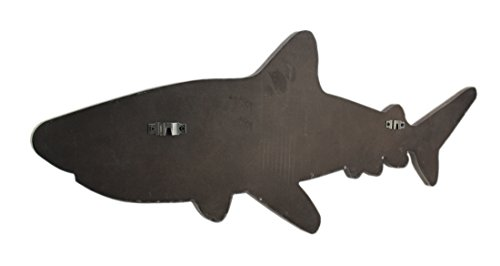 Zeckos Wood & Metal Wall Sculptures Distressed Wood And Galvanized Metal Shark Wall Hanging 33 X 12 X 0.75 Inches Grey