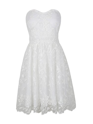PERSUN Womens White Lace Bandeau High Waist Organza Party Wedding Mini -