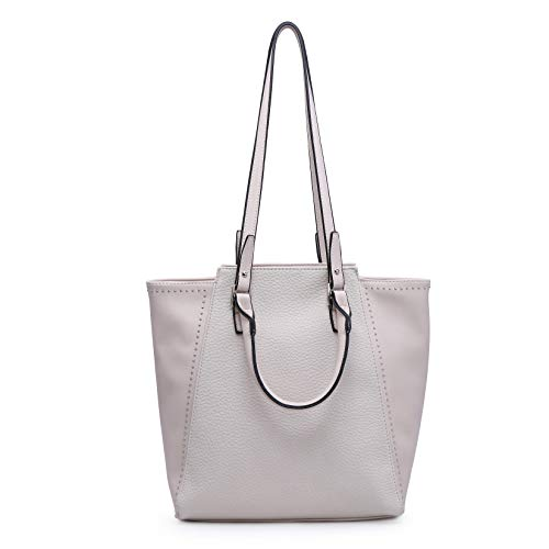 Women Tote Purse Shoulder Bag Hobo Handbag Chic Fashion Casual Vegan Leather (Large, Ivory)