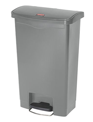 Rubbermaid Commercial Slim Jim Front Step-On Trash Can, Plastic, 13 Gallon, Gray (Slim Trash Can With Lid 13 Gallon compare prices)