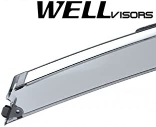 WellVisors Replacement for 2016-Present Chevrolet Malibu Side Rain Guard Window Visors Deflectors Chrome Trim 3-847CH016
