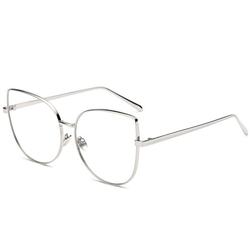 Pro Acme Oversized Cat Eye Gold Clear Lens Glasses Frame Vintage Eyeglasses Women (Silver Frame/Clear - Style Cat Eyeglasses