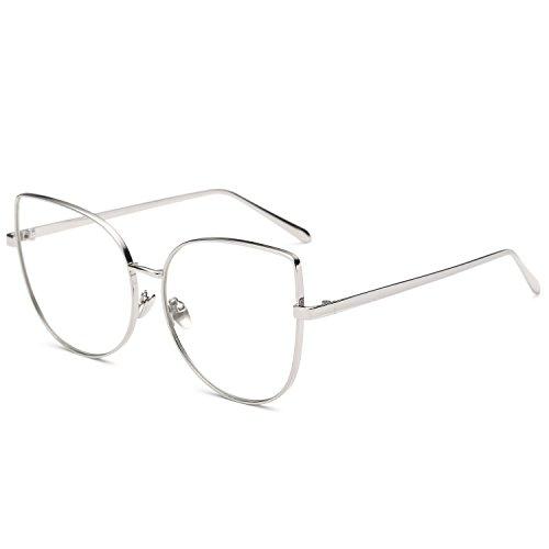 Pro Acme Oversized Cat Eye Gold Clear Lens Glasses Frame Vintage Eyeglasses Women (Silver Frame/Clear - Frames Clear Style Eyeglass
