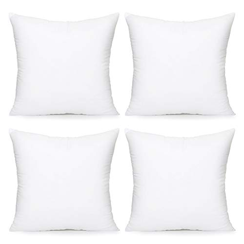 Acanva Throw Pillow Inserts Decorative Stuffer Soft Hypoallergenic Polyester Couch Square Form Euro Sham Cushion Filler, 20'-4P, White 4 Pack