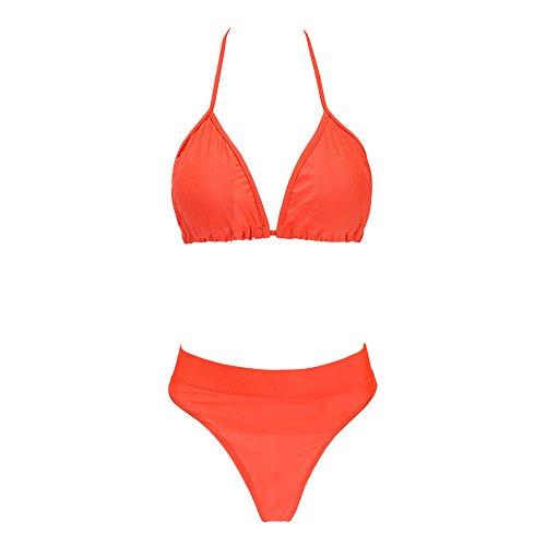 Leezeshaw Mujeres Halter Acolchados Push-up Brasilena Inferior 2pcs Bikini Conjunto Traje De Bano Orange