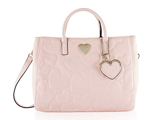 Betsey Johnson Multi Compartment Heart Quilted Structured Satchel Shoulder Bag - -