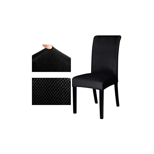 Jacquard Pattern Universal Chair Cover Stretch seat Chair Covers Protector Slipcover for Hotel Dining Banquet Home Decoration,Black,Universal Size