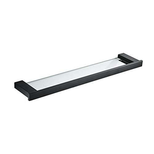 Bathroom Shelf,Hiendure Glass Wall Organizer Shelf with Extra Thick Glass,23 Inch by 4.5 Inches,Black Painting by Hiendure