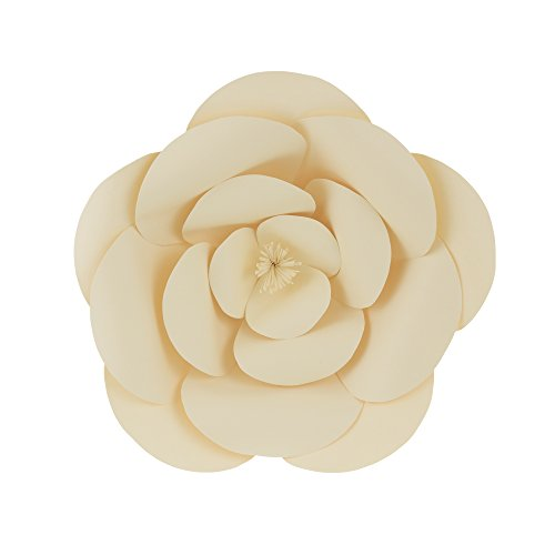 Mega Crafts 12'' Handmade Paper Flower in Ivory | For Home Décor, Wedding Bouquets & Receptions, Event Flower Planning, Table Centerpieces, Backdrop Wall Decoration, Garlands & Parties
