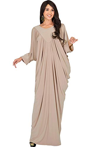 KOH KOH Womens Long Sleeve Flattering Oversized Baggy Loose Casual Maxi Dress