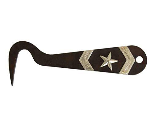 AJ Tack Wholesale Horse Hoof Pick Brown Steel Silver Engraving Stable Grooming Texas Star Arrows