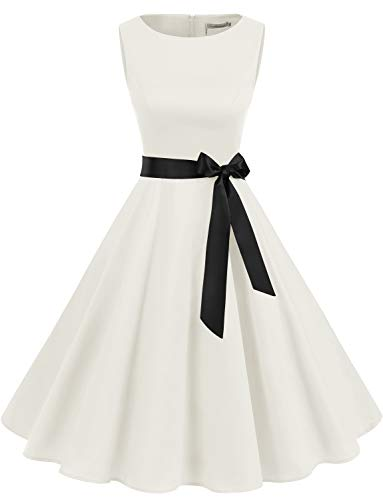Gardenwed Women's Audrey Hepburn Rockabilly Vintage Dress 1950s Retro Cocktail Swing Party Dress White M]()