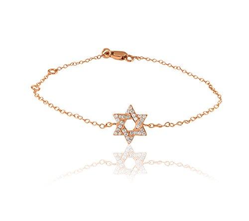 Libertini bracelet argent 925 femme plaque or Rose serti de Diamant en forme de Étoile
