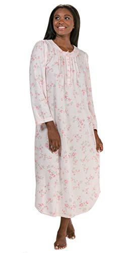 Miss Elaine Pintucked Cuddleknit Round Neck Long Gown in Peach Spray (Peach Floral, X-Large) (Nightgown Pintucked)