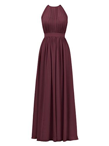 Alicepub Halter Illusion Bridesmaid Dress Chiffon Formal Evening Prom Gown Maxi, Burgundy, US6 (Chiffon Floor Length Gown)