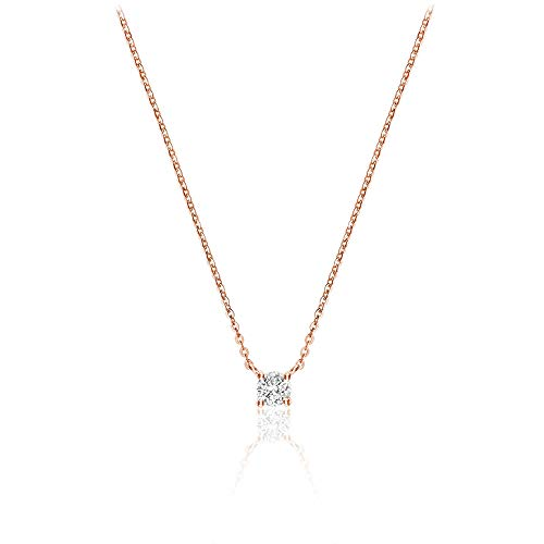 Jewels By Erika N-10S10R 10K Gold Solitaire Diamond Necklace 17