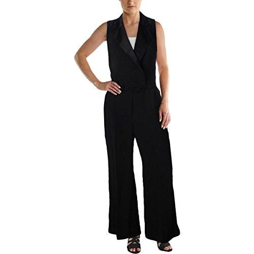 Trim Jumpsuit (Lauren Ralph Lauren Womens Checklie Satin Trim Tuxedo Jumpsuit Black 14)